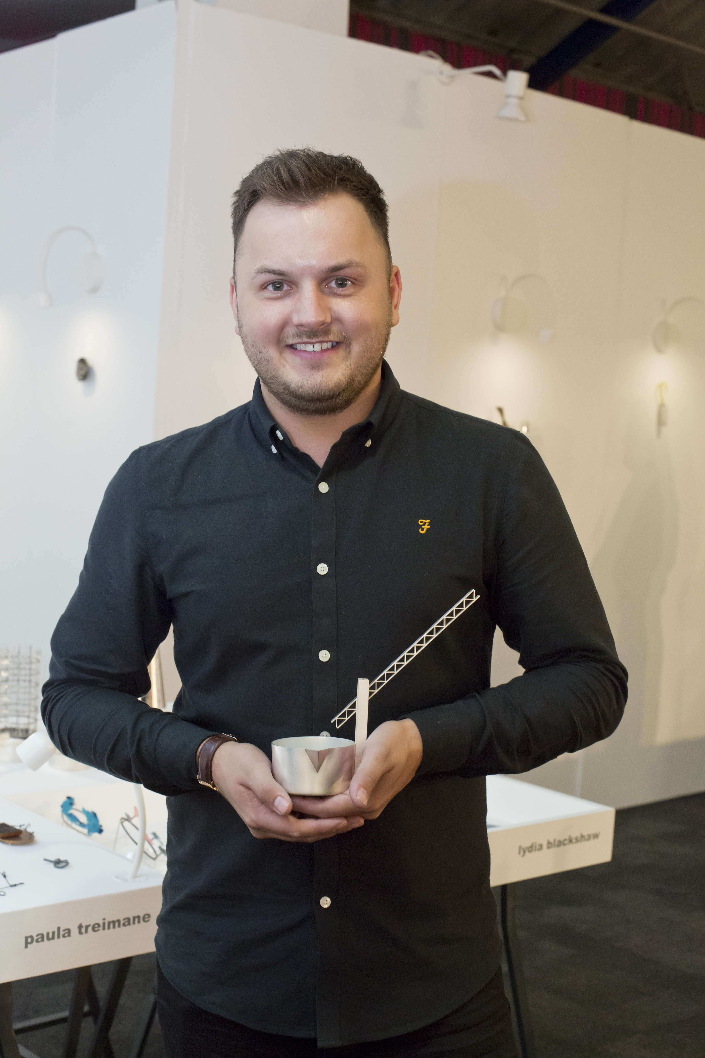 Andrew Fleming, winner of the 2017 New Designers Goldsmiths' Company Silversmithing Award. Photography by thedpc.com